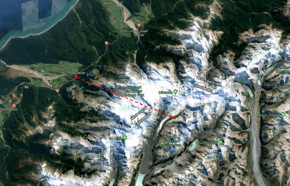 Fox Glacier Heli Hike - Photo Map