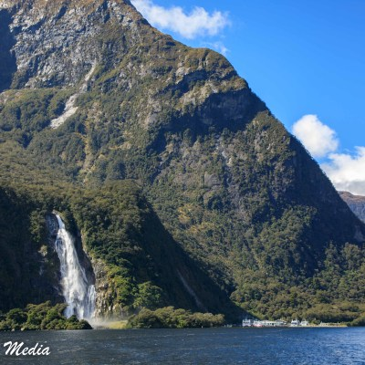 Waterfall in Milford Sound