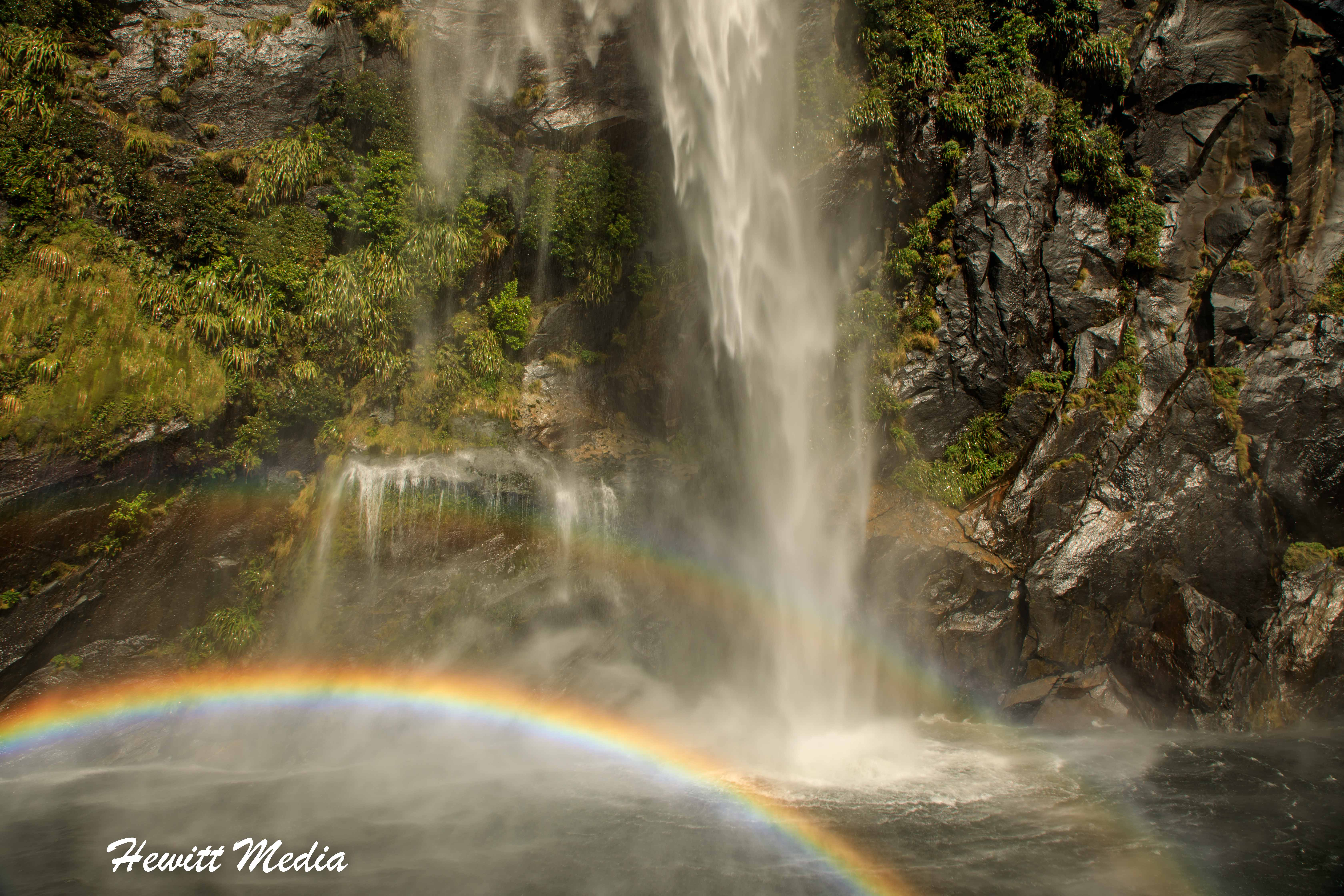 Waterfall Rainbow in Milford Sound