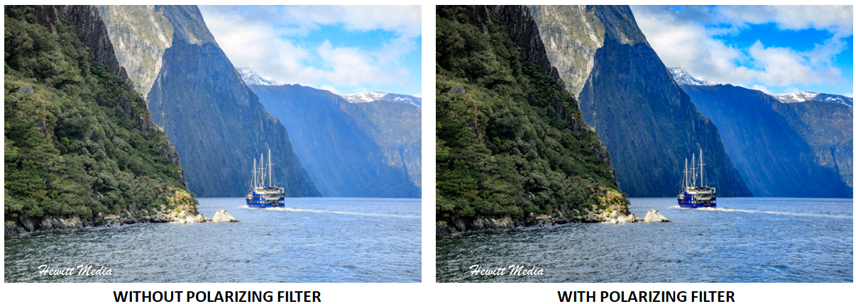 Milford Sound Photos With and Without Polarizing Filter.png