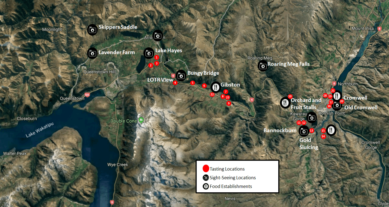 Central Otago Valley Winery and Sight-Seeing Map