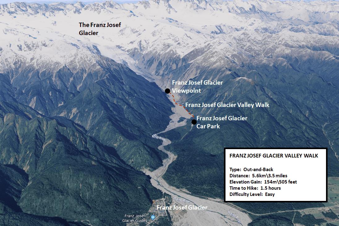 Franz Josef Glacier Valley Walk Map
