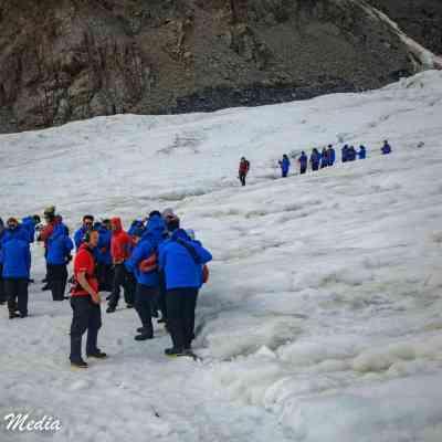 Getting ready to hike on Franz Josef Glacier