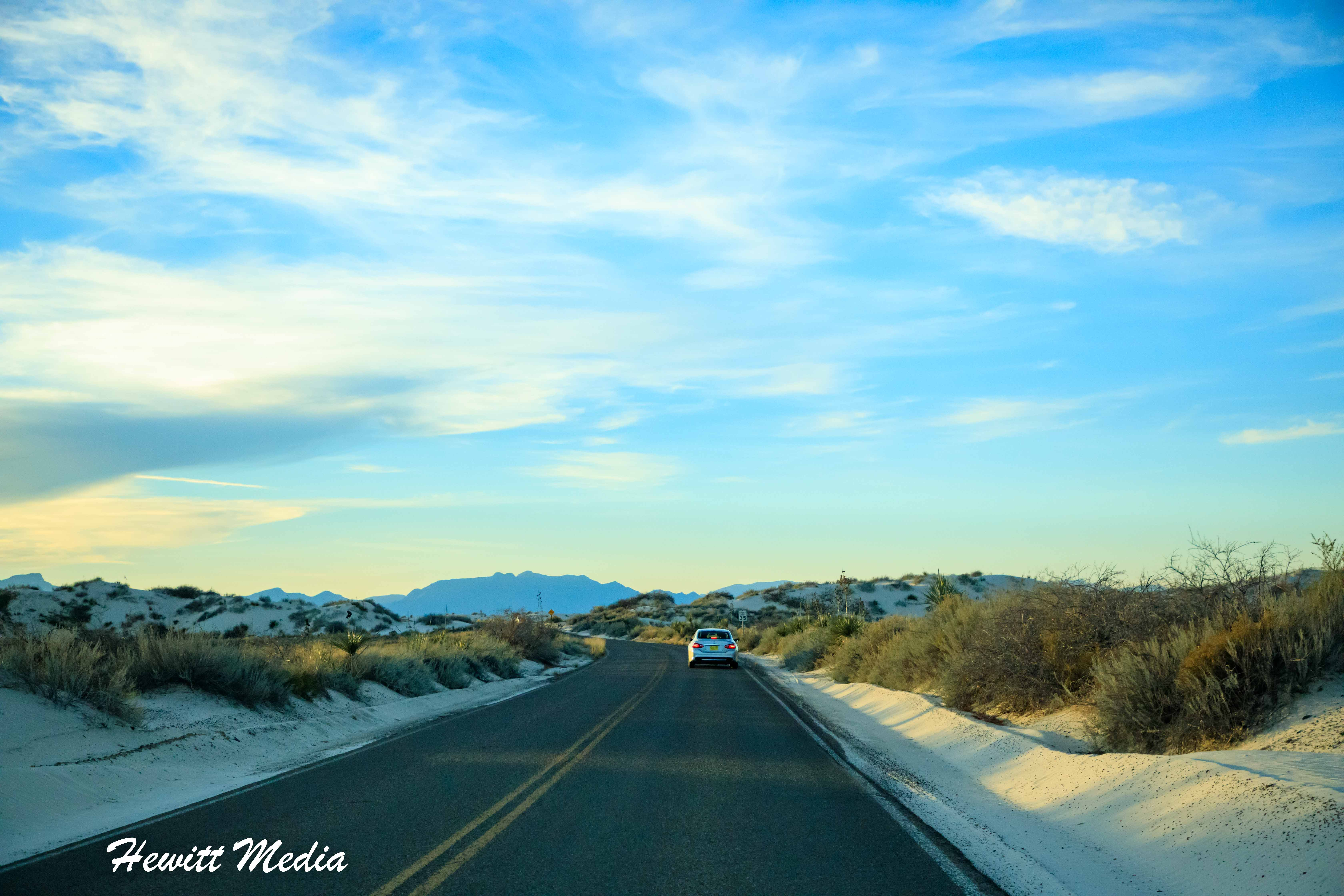 Road into White Sands National Monument