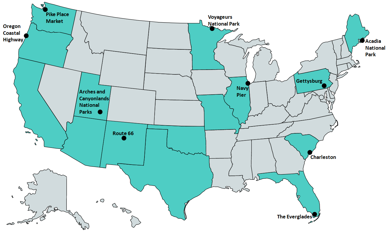 Top Things to See in America Map - 31-40