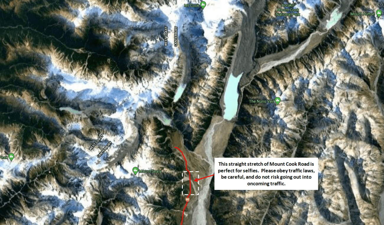 Mount Cook Road Selfie Map