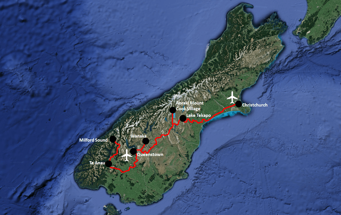 New Zealand South Island Itinerary Map Without Fran Josef