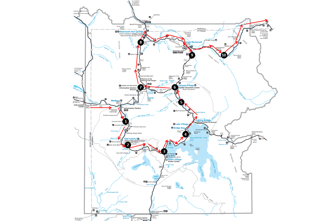 Yellowstone Top Things to See Map
