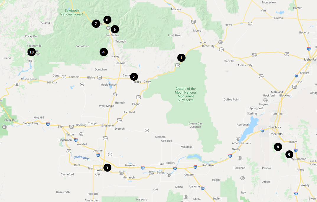 Craters of the Moon National Monument - Area Campgrounds Map