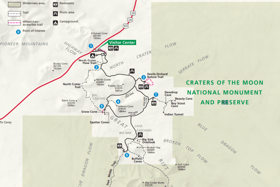 Craters of the Moon National Monument Park Map Preview