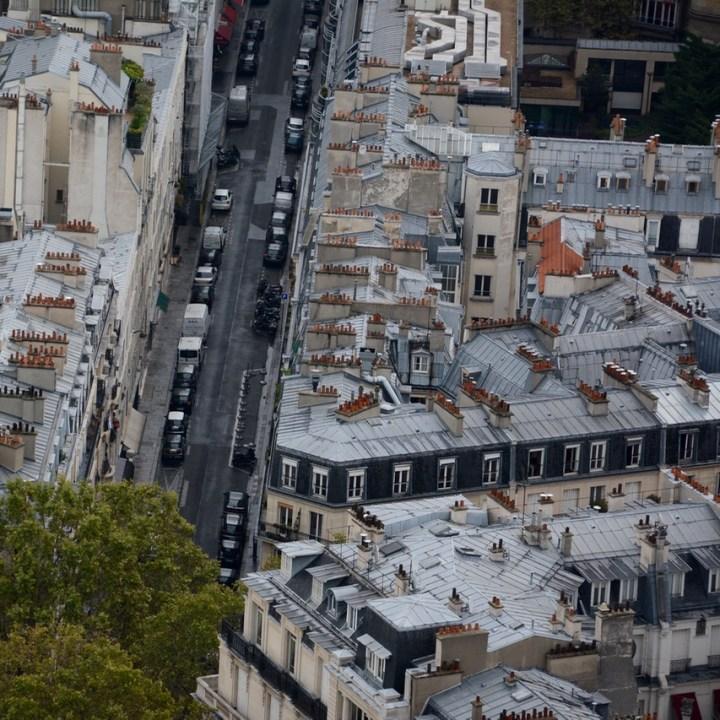 paris france eiffel tower view chimney tops