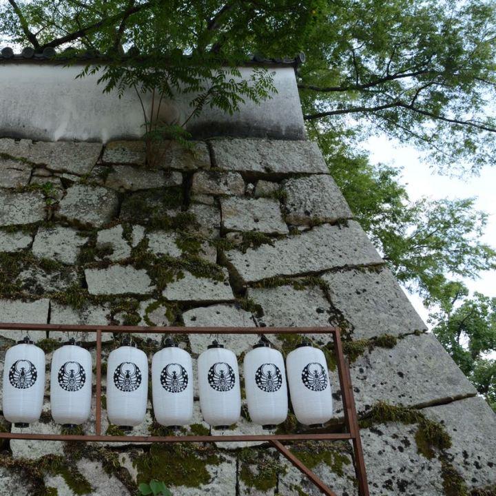 Okayama castle stone wall lantern