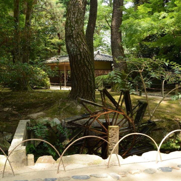 Okayama garden korakuen wooden water wheel