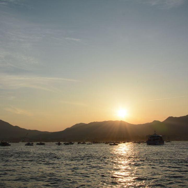 miyajima hanabi firework boats harbour sunset