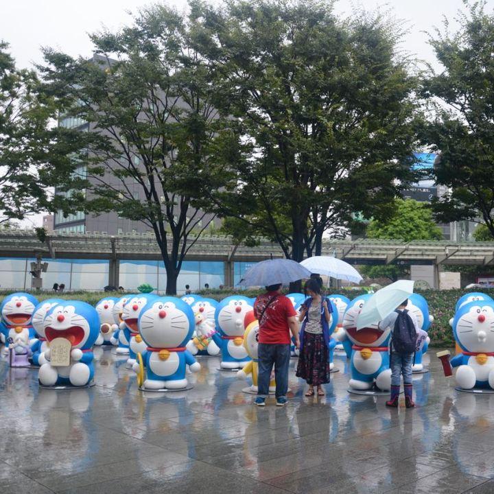 roppongi tokyo mori art museum doraemon in the rain