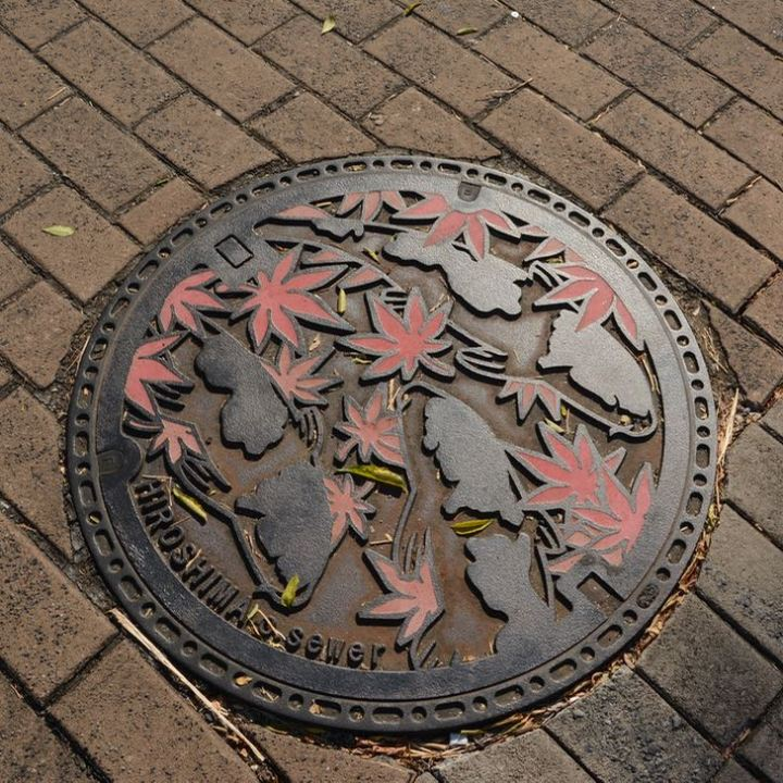 Hiroshima city manhole cover autumn leaves