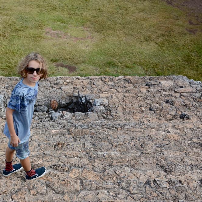 Valladolid with kids children ek balam pyramid climb steps