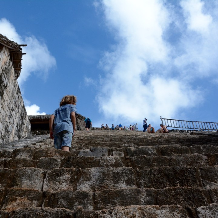 Ek Balam, Mexico | Exploring and Climbing a Mayan Pyramid with Children