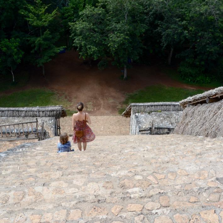 Valladolid with kids children ek balam acropolis steps