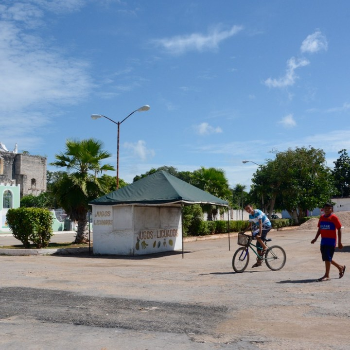 Travel with children kids mexico tizimin village square