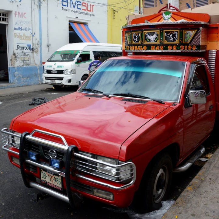 Mexico Merida travel with children kids pickup truck