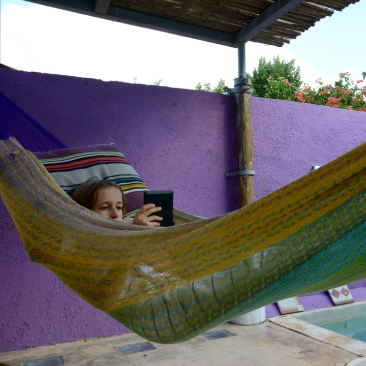 Travel with children kids mexico merida airbnb hammock