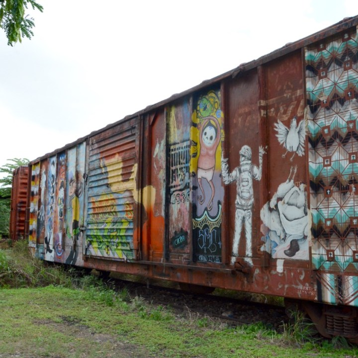 Travel with children kids mexico merida train museum graffiti