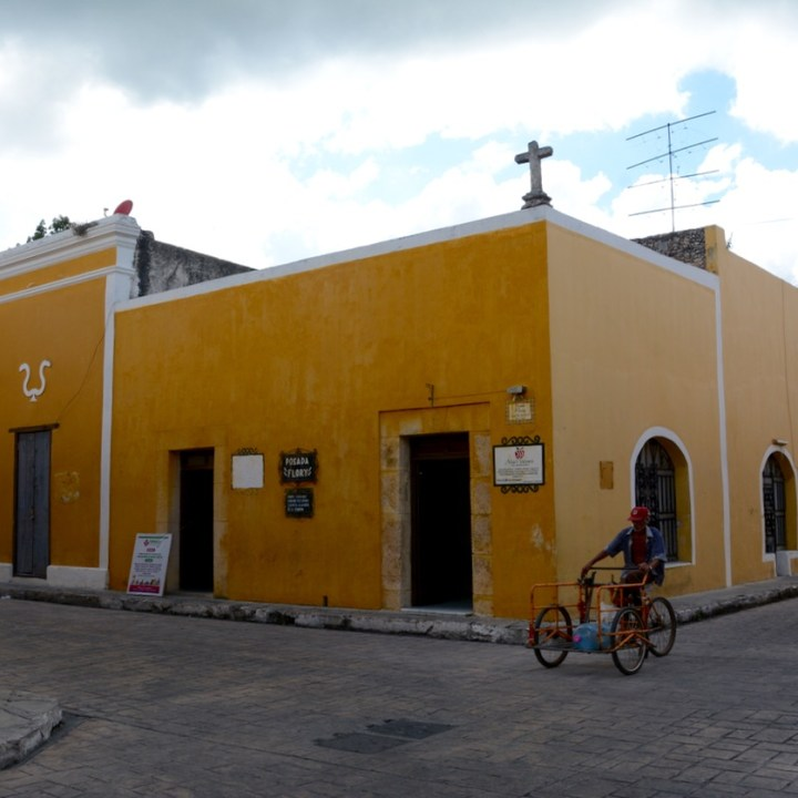 Travel with children kids mexico merida izamal local bike