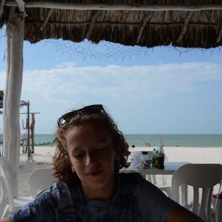 Travel with children kids mexico celestun beach restaurant