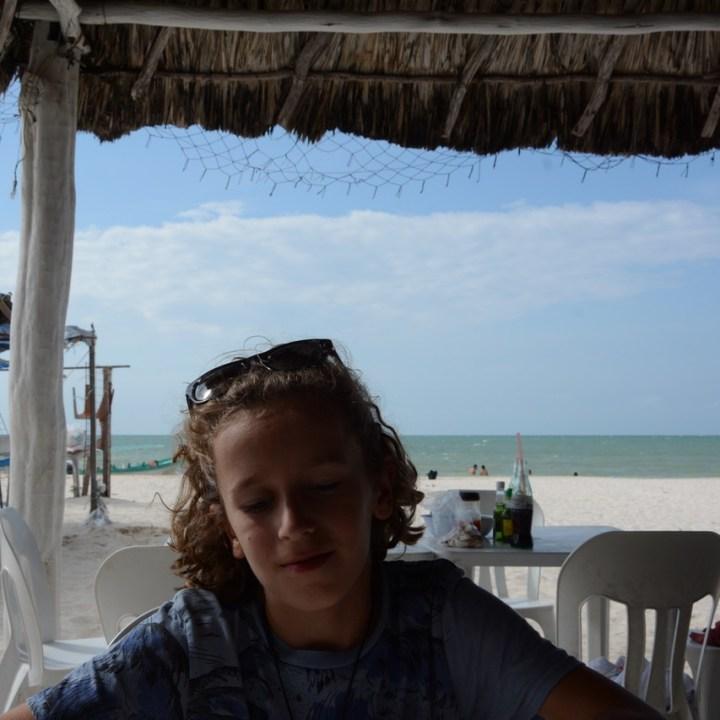 Travel with children kids mexico celestun beach restaurant