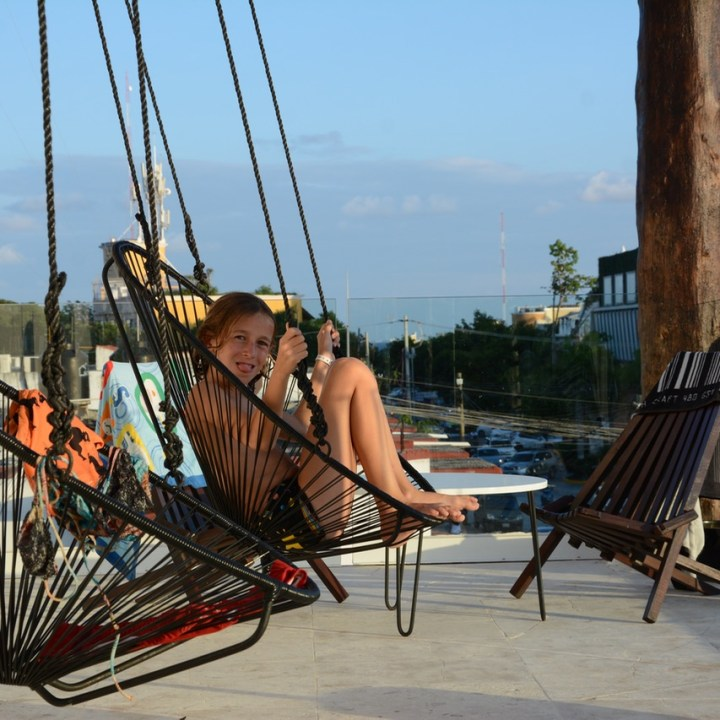 Travel with children kids mexico playa del carmen hotel hm hammock chair