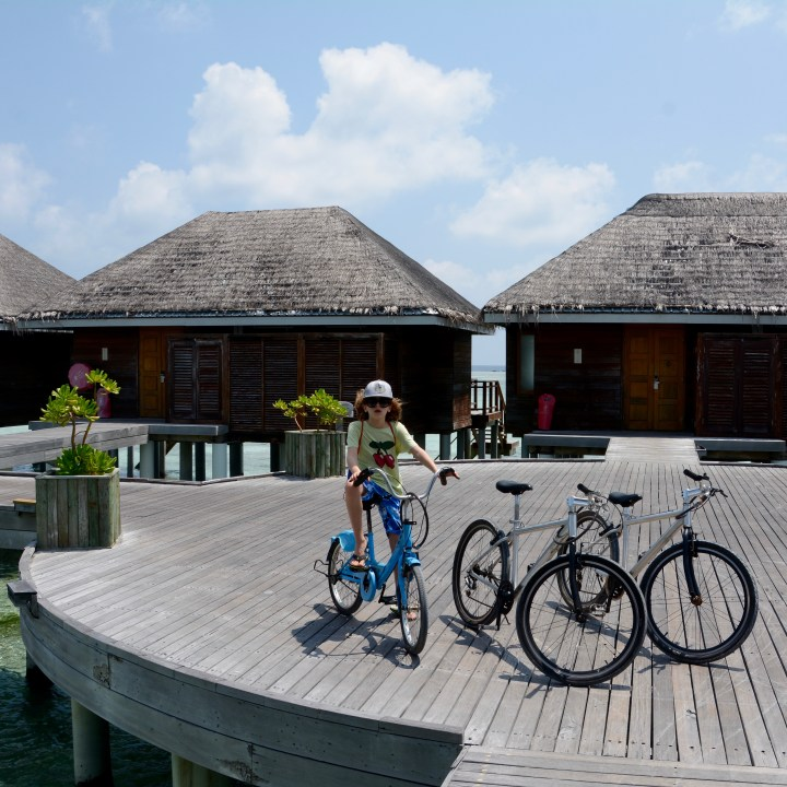 travel with children kids maldives lux south ari atoll bikes