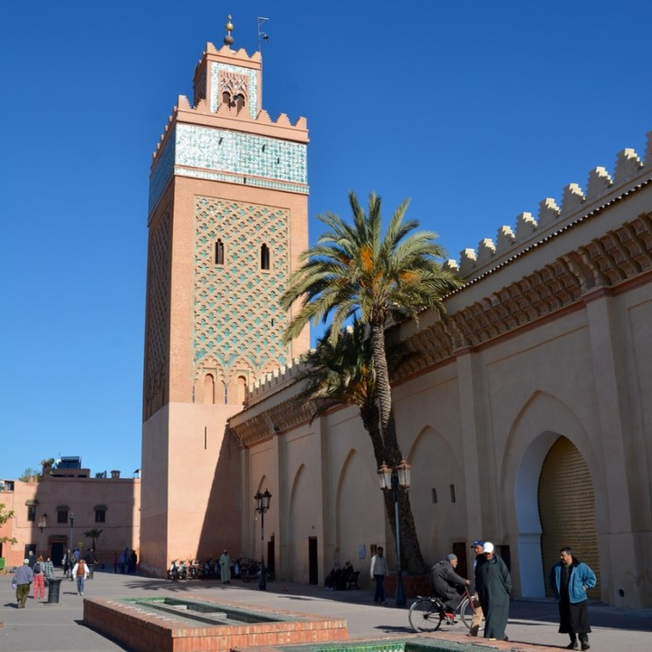 travel with children kids morocco marrakech mosque tower