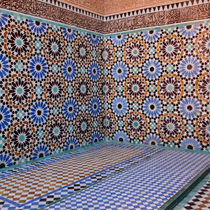travel with children kids morocco marrakech saadian tombs tiles