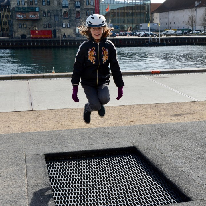 travel with kids children Copenhagen Denmark nyhavn canal trampoline playground