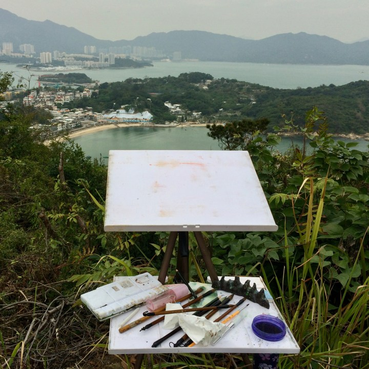 travel with kids children peng chau hong kong hiking trail finger hill view painter