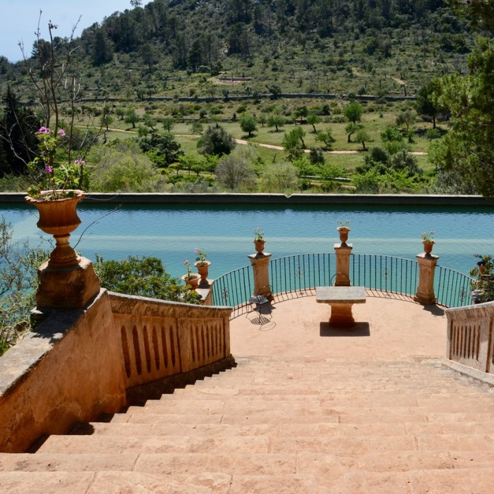 travel with kids children mallorca spain raixa estate large pond terrace
