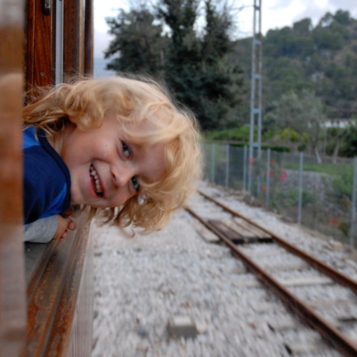 travel with kids children Soller Mallorca Spain tranvia tram ride