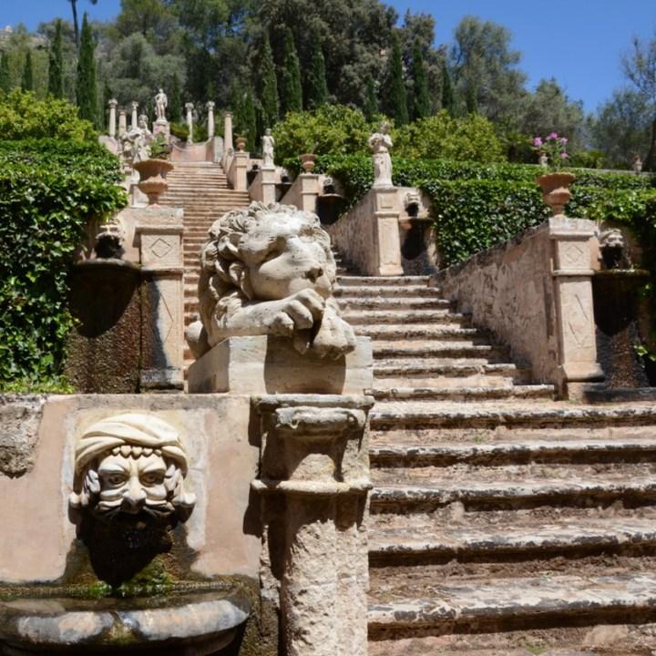 travel with kids children mallorca spain raixa estate apollo stairs lion