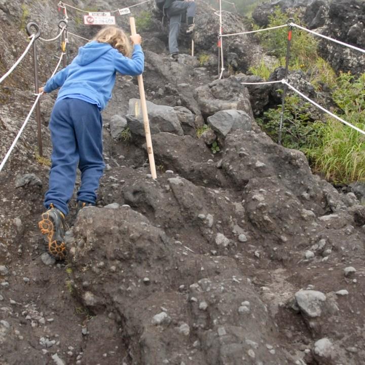 travel with kids hiking mount fuji japan rocky path