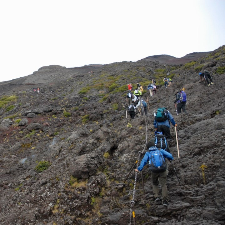 travel with kids hiking mount fuji japan rocky climb