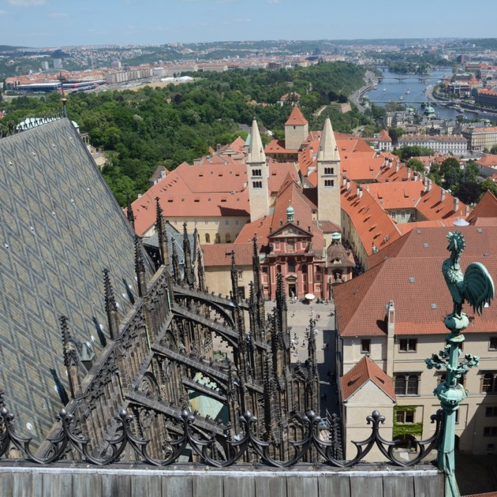 travel with kids prague cathedral roof view