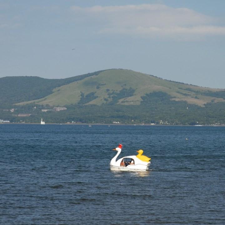 cycling with kids lake yamanakako duck pedal boat