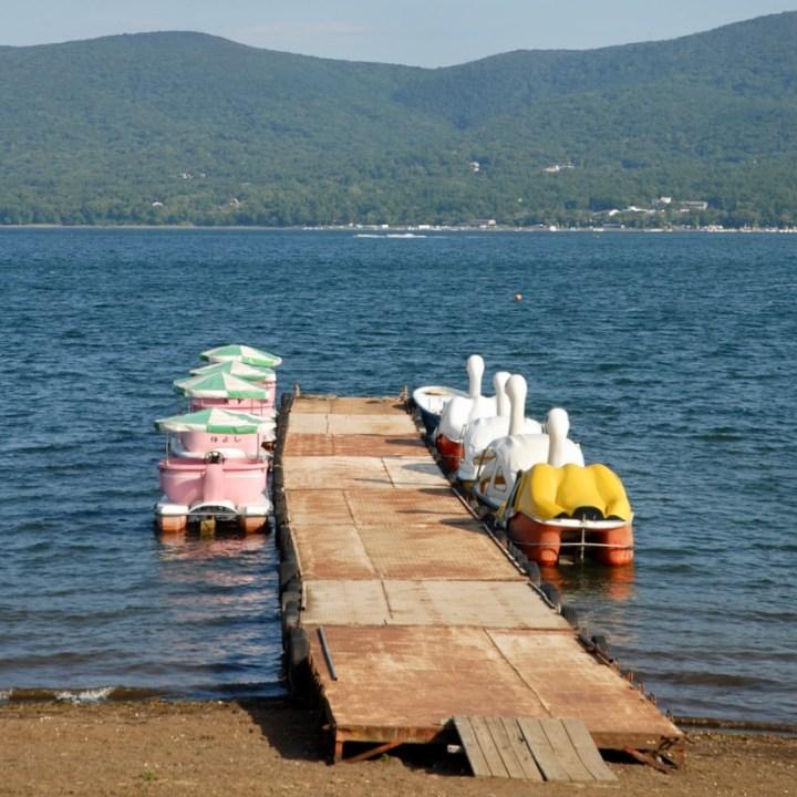 cycling with kids lake yamanakako pedal boat jetty