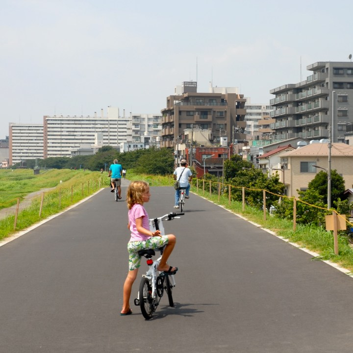 cycling the tama river tokyo japan with kids bike path