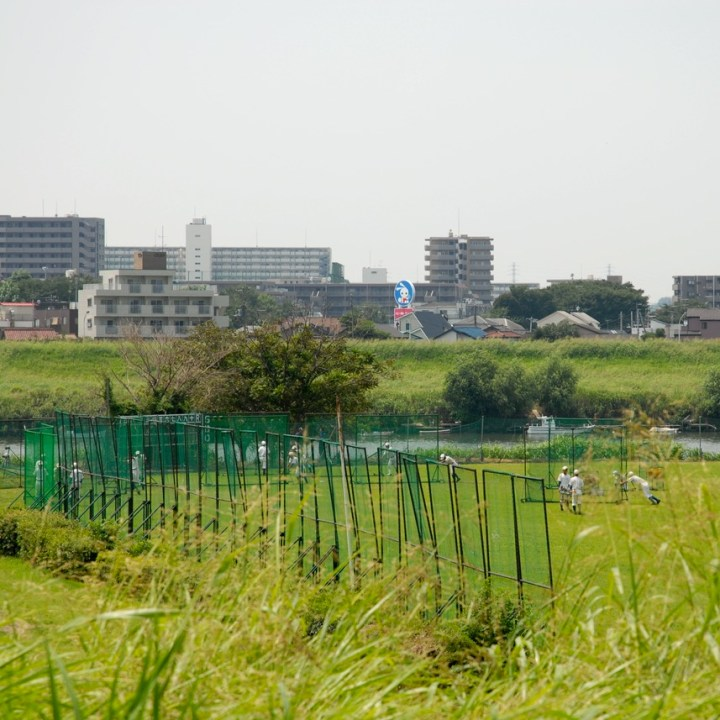 cycling the tame river tokyo japan with kids baseball game
