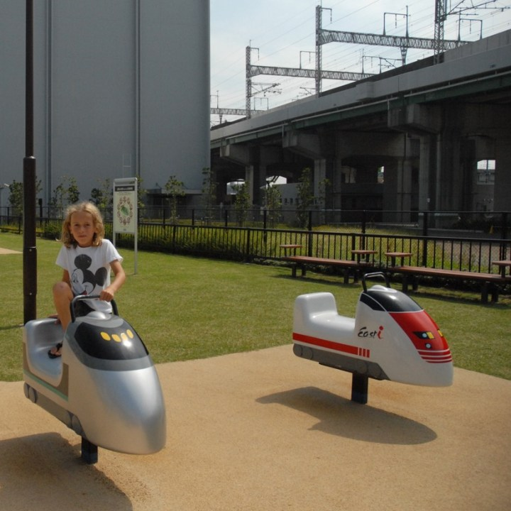 tokyo train museum with kids shinkansen seesaw
