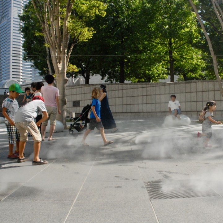 yokohama with kids pedestrian area misty fountain