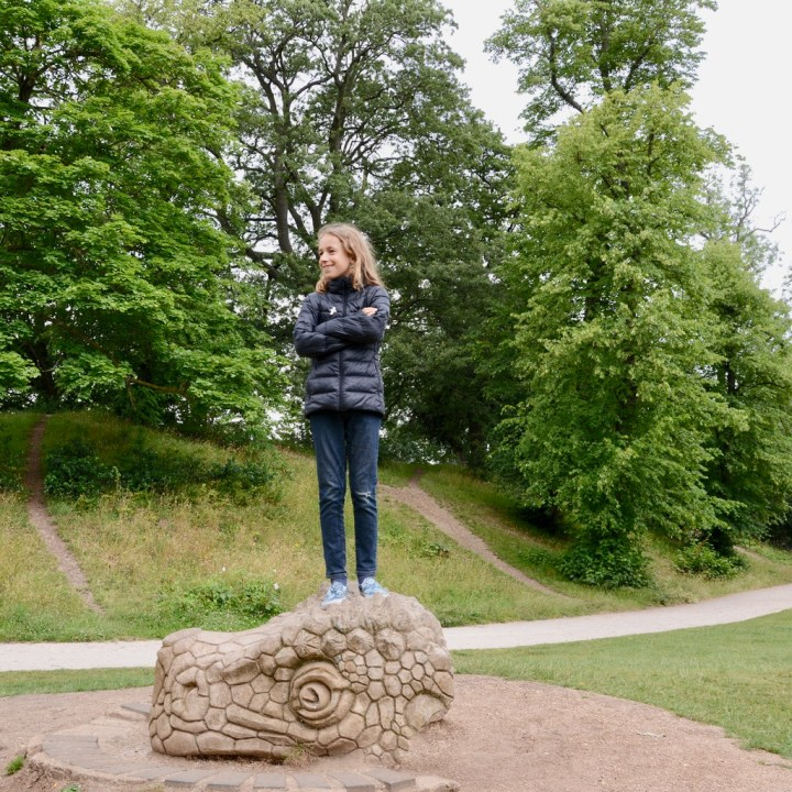 crystal palace park with kids dinosaurs head
