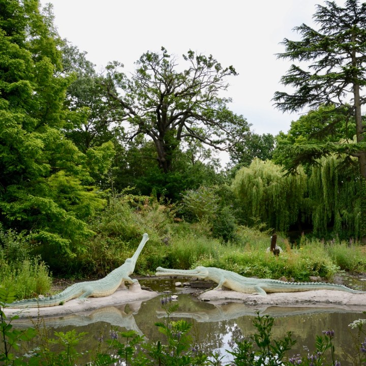crystal palace park with kids dinosaurs